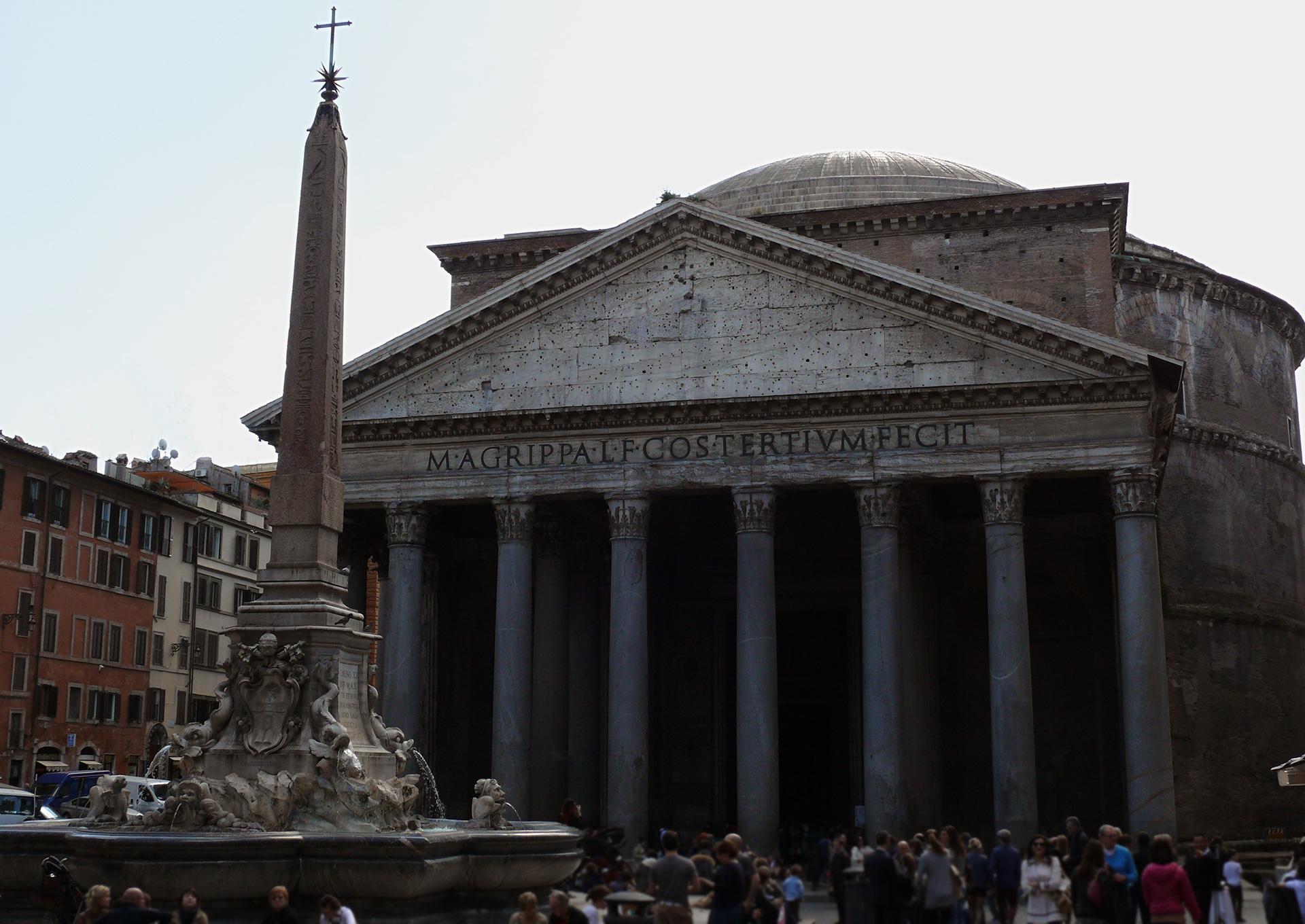 Rome - Le panthéon et sa fontaine