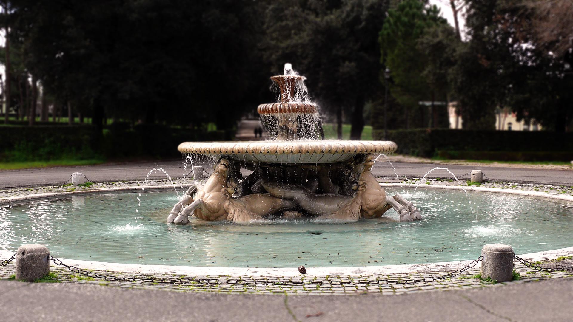 Rome - Fontaine des chevaux marins à la Villa Borghese