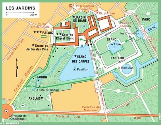 Plan des jardins du Château de Fontainebleau
